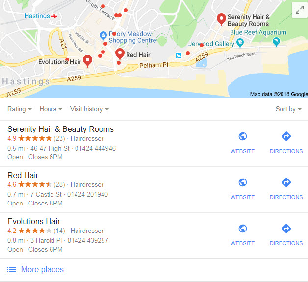 Image of an example of Google Places for Business map that has been generated in the search results