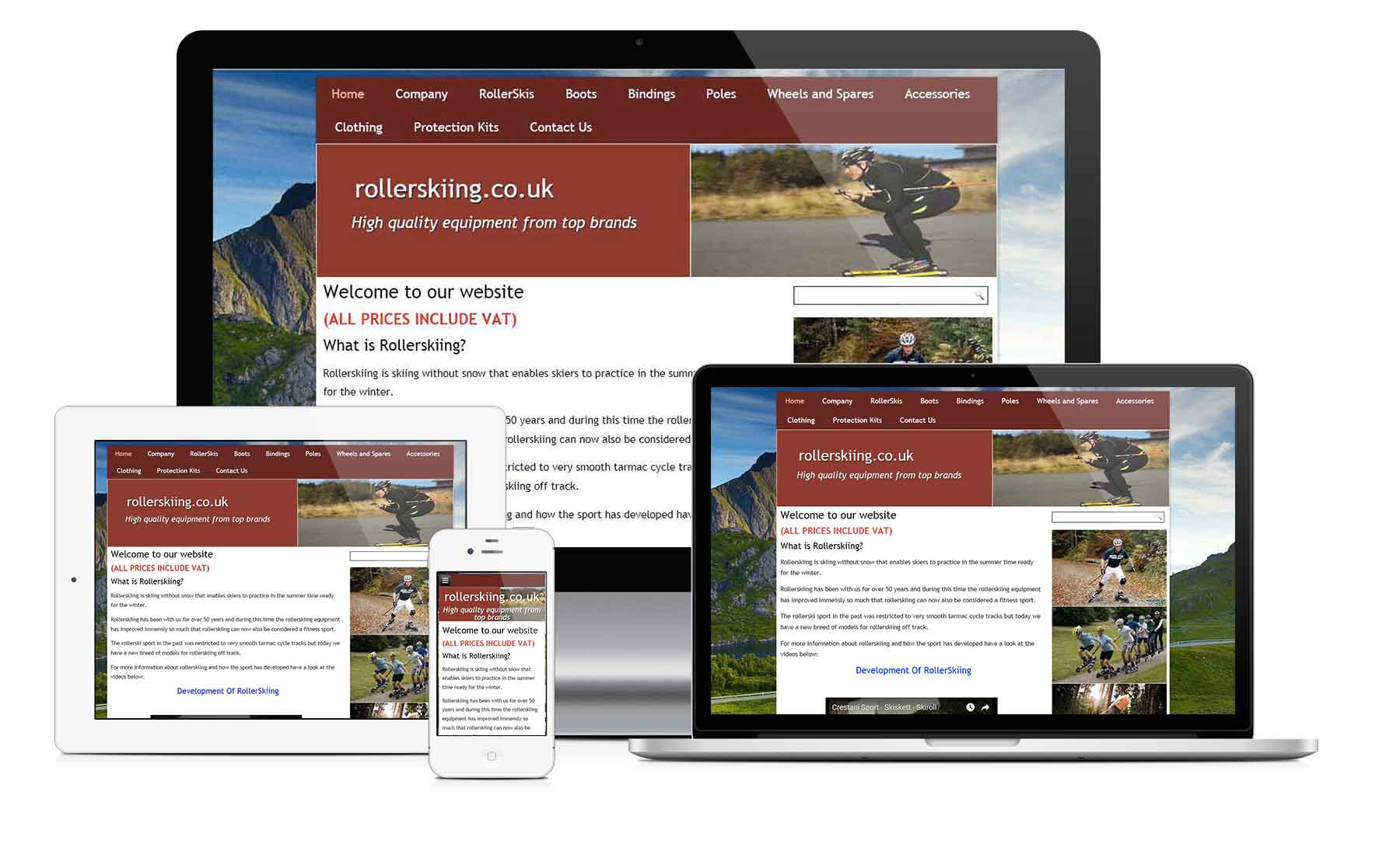 image of the website rollerskiing.co.uk as seen on different devices